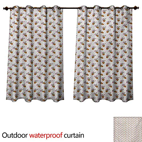 WilliamsDecor Succulent Home Patio Outdoor Curtain Exotic Cactus Plants with Pink Blossoms and Little Dots in Flower Pots W120 x L72(305cm x 183cm)