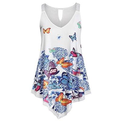 Women V Neck Vest Blouse Asymmetrical Hem Tanks Tops Plus Size Sleeveless Shirt T Shirt Butterfly Print Tuncis Tees Tops (White, XXXL): Kitchen & Dining