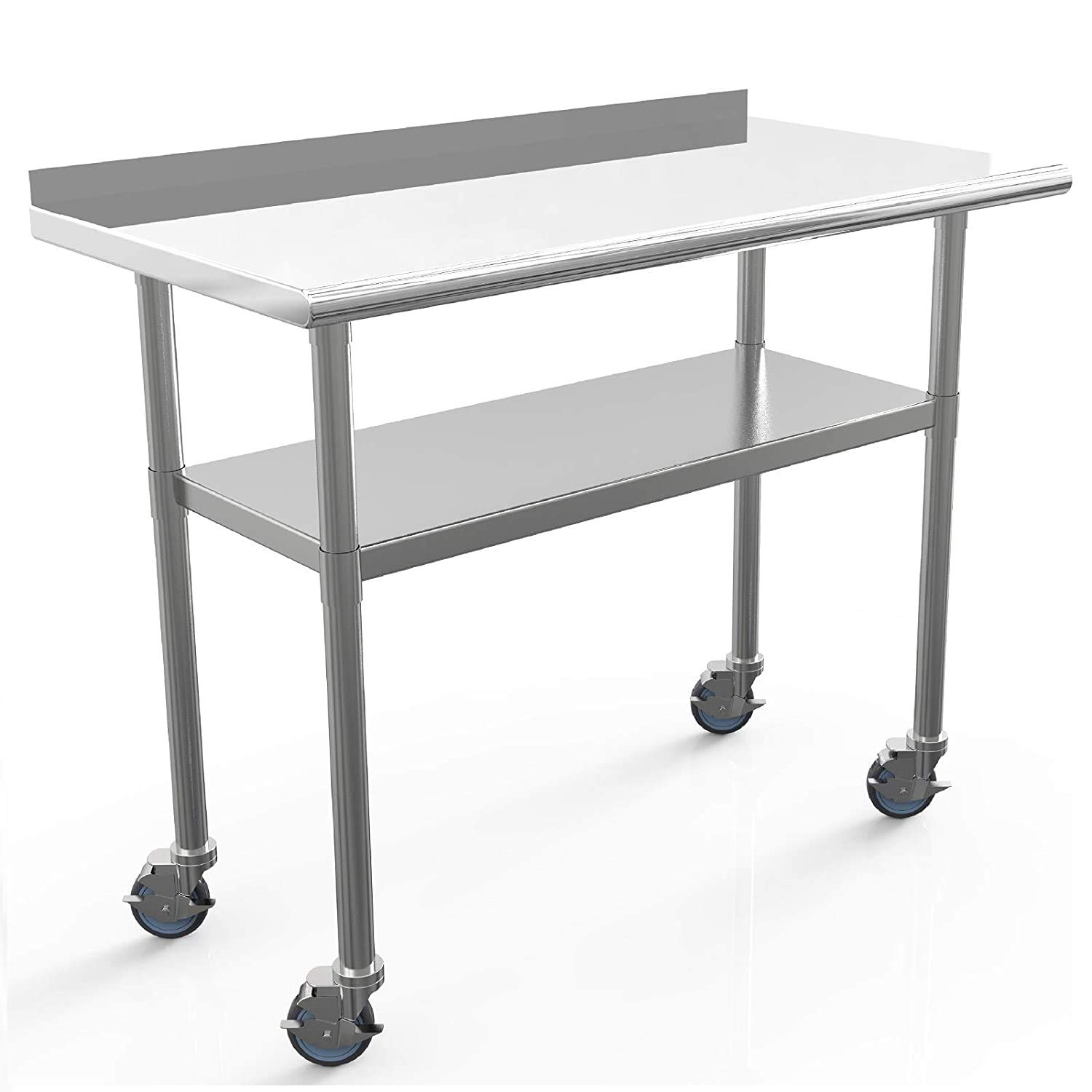 Nurxiovo Commercial Work Table Stainless Steel Table 48 x 24 Inches Heavy Duty Workbench Industrial Restaurant Food Work Tables for Shop Worktop with 1 1/2