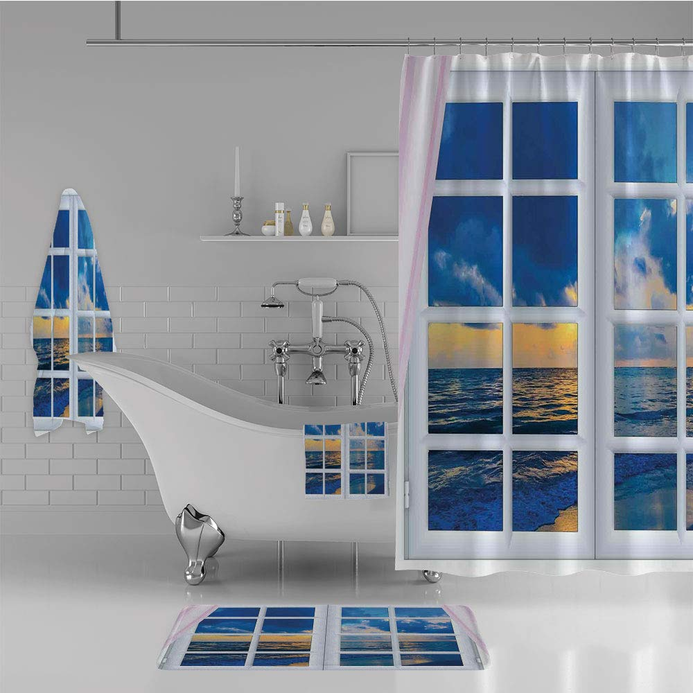iPrint Bathroom 4 Piece Set Shower Curtain Floor mat Bath Towel 3D Print,Scenery from Window with Open Curtains Horizon,Fashion Personality Customization adds Color to Your Bathroom.
