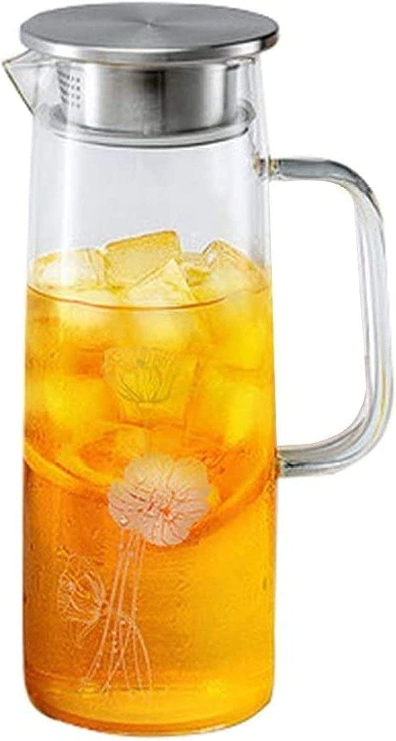Glass pitcher Explosion-Proof Cooler Heat-Resistant Heat-Resistant Household teapot Capacity 1250ml,Clear-925.5cm