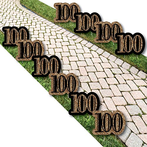 Adult 100th Birthday - Gold Lawn Decorations - Outdoor Birthday Party Yard Decorations - 10 Piece]()