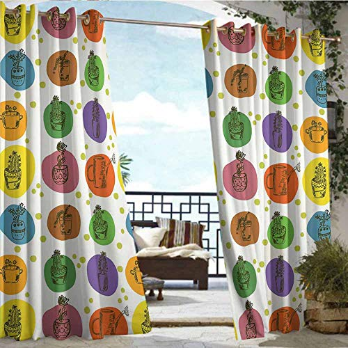 - Qenuan Outdoor Curtain Panel for Patio,Cactus,Sketch Style Collection of South American Plant Life in Flowerpots Dotted Backdrop,Multicolor,Grommet Curtains for Bedroom72 x45 inch