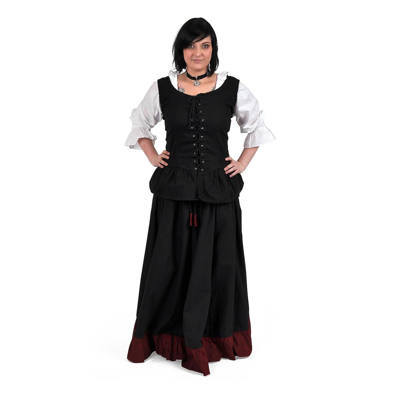 Ropa medieval - Falda medieval con volantes - negro y rojo: Amazon ...