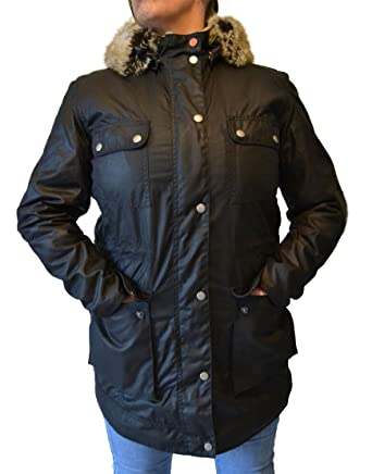 Barbour Women's Carribena Wax Parka Jacket Black (BBJK002) (US 8 ...