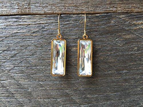 Swarovski Crystal Clear Princess Baguette Drop Earrings - April Birthstone