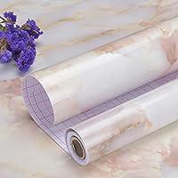Art3d 200 x 45cm Peel and Stick Zelfklevend Contactdocument Waterdicht Behang, Roze Marmerontwerp