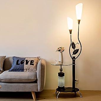LOFAMI Moderne Stehlampe Mit Glas Regalen, 2 Light White Acryl  Lampenschirm, Metall Dekoration Steht