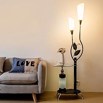 LOFAMI Lámpara de pie moderna con estantes de vidrio, 2 ...
