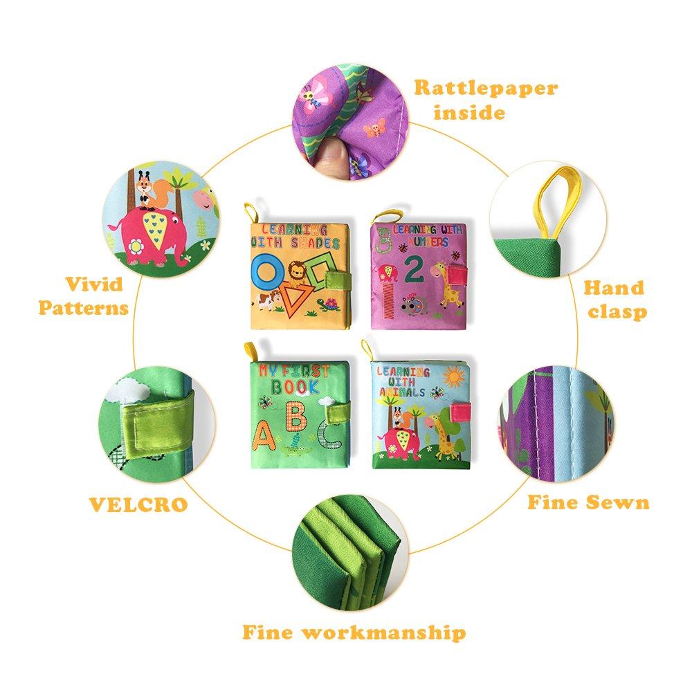 Libros cognitivos de tela suave mi primer libro de actividades juguetes de aprendizaje temprano 4 unidades