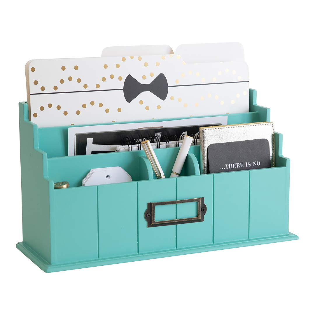 Blu Monaco Teal Wooden Mail Organizer - 3 Tier Teal Desk Organizer - Rustic Country Mail Sorter - Kitchen Countertop Organizer Mail Basket