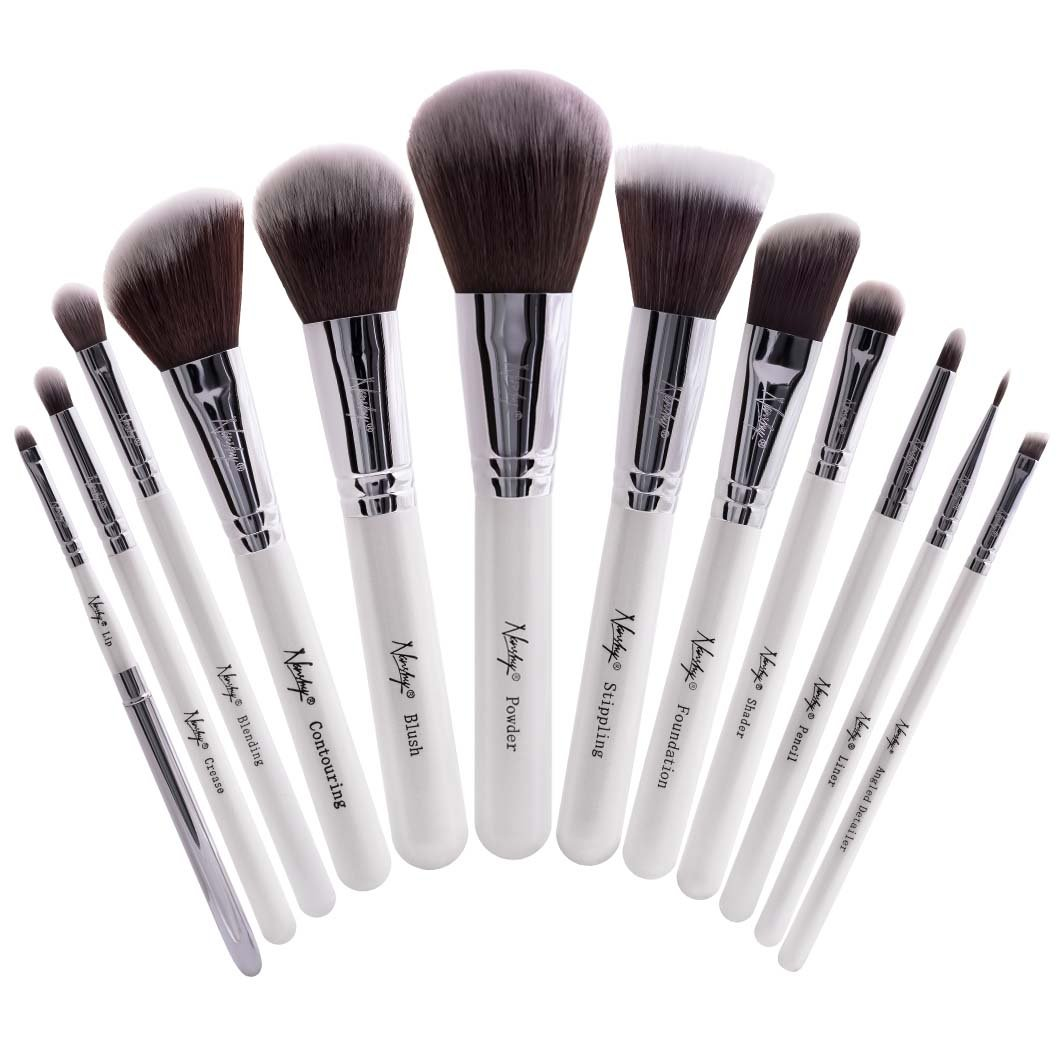Nanshy Masterful Collection Professional Labeled Makeup Brush Set Premium Synthetic Vegan Cruelty Free Brushes (White 12pcs)