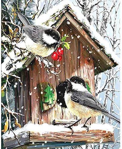 DUKEMG Pintura de Nido de pájaro de Madera por números Kits 40x50cm Pintura acrílica de Bricolaje para niños Adultos Estudiantes Principiantes hogar Decorar con Pinceles enmarcados