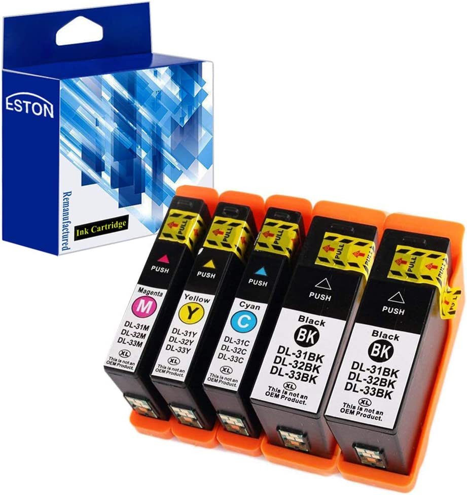 ESTON Compatible Ink Cartridge Replacement for Dell Series 31 Black and Series 31 Color for Dell V525w/ V725w All-in-One Printer (Black,Cyan,Magenta,Yellow - 5 Pack)