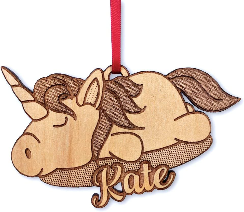 Christmas Wood Ornament for Girls  Unicorn Ornament Personalized Ornament