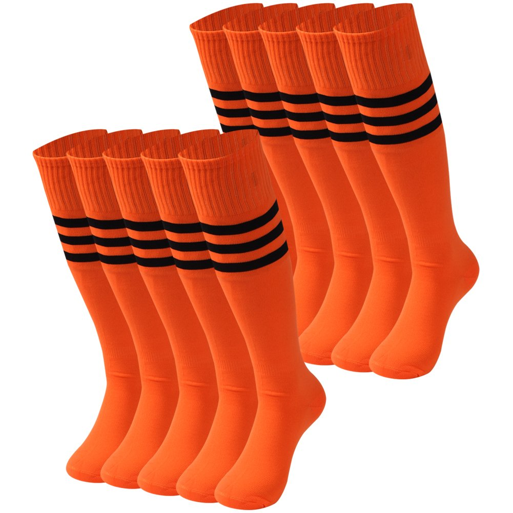 saounisi Adult Tube Socks Stripes,10 Pairs Knee High Socks Fashion Solid Colors Football Soccer Team Sports Long Compression Socks Size 9-13 Orange by saounisi