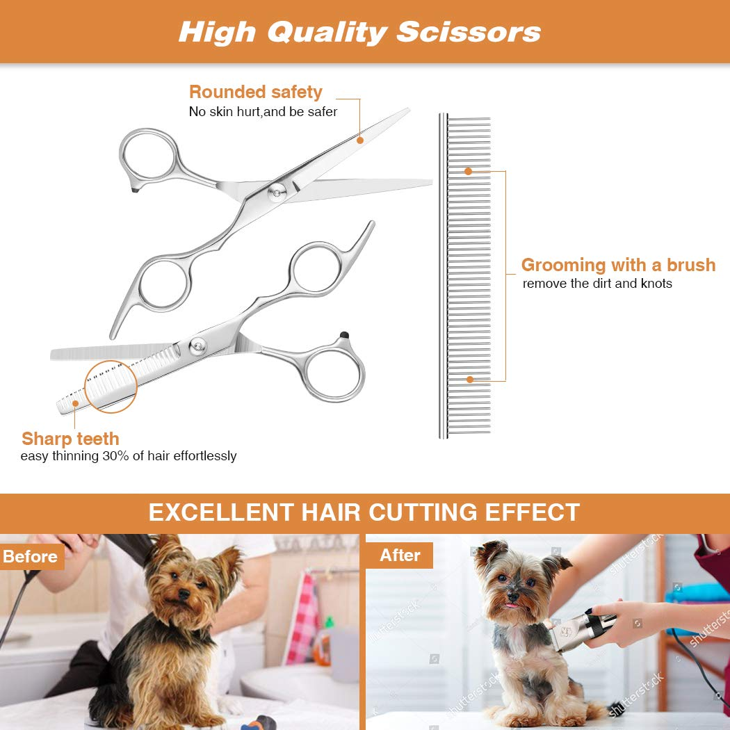 PANGU-Dog Clippers,Professional Pet Grooming Kit Low Noise, Rechargeable Pet Shaver Cordless Silent Dog Hair Trimmer with scissors comb Best Hair Clipper for Dogs Cats pets