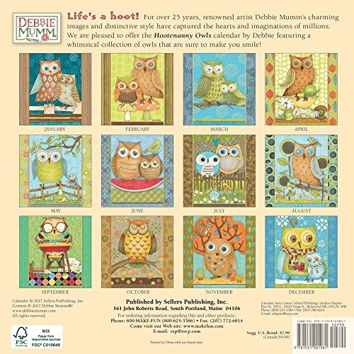 Hootenanny Owls by Debbie Mumm 2018 Small Wall Calendar Photo #4