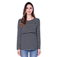 Bearsland Women's Striped Long Sleeves Maternity Breastfeeding Clothes and Nursing Tops