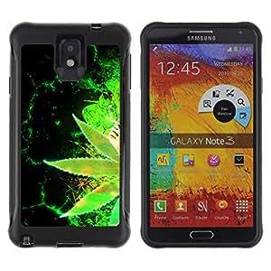 """Pulsar iFace Series Tpu silicona Carcasa Funda Case para SAMSUNG Galaxy Note 3 III / N9000 / N9005 , Weed Cáñamo El cáñamo verde Planta Wallpaper"""""""