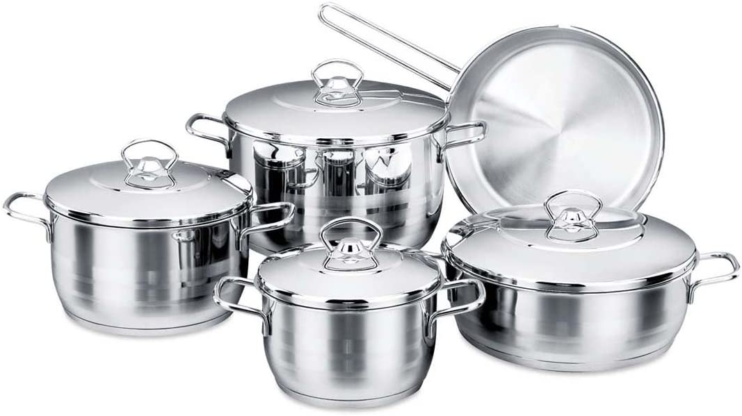 YBM Home Korkmaz Astra Cr-Ni 9-Piece Stainless Steel Cookware Set, Pots and Pan Set with Aluminum Bottom Capsule Base Provides Fast and Even Heat Distribution, Silver a1900