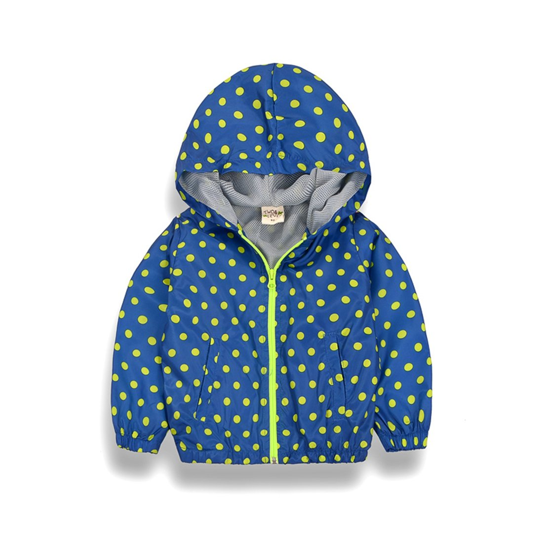 LL STUDIO Kids' Polka-dot Blue Windbreaker Waterproof Raincoat Hooded Jackets Coat,Age 1.5-9