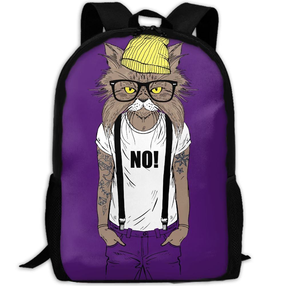 Cat No Hat Glasses Double Shoulder Backpacks For Adults Traveling Bags Full Print Fashion by THIS STORE