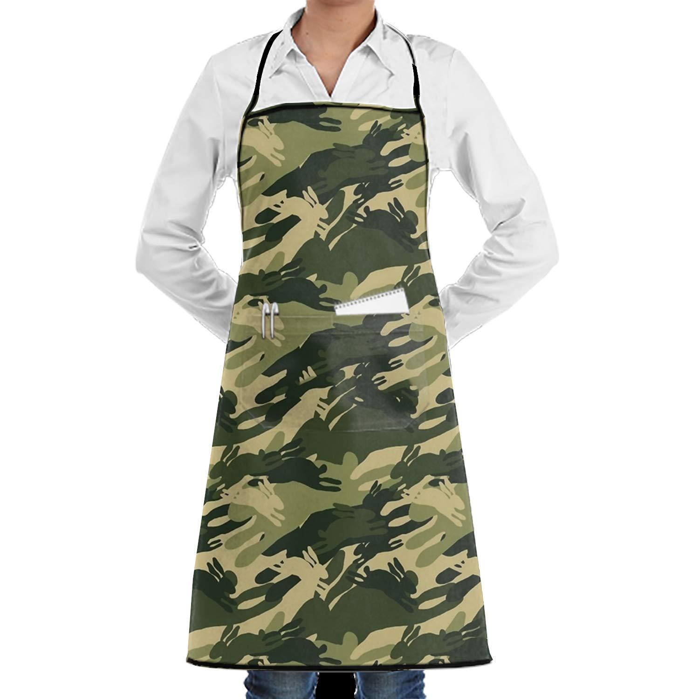 SHUANGRENDE 男女兼用 カスタム ハングリー キャットエプロン 防水エプロン ポケット付き 調節可能 キッチン 料理 ビブ BBQエプロン One Size ホワイト  Camouflage Rabbit4 B07GSQVGXW