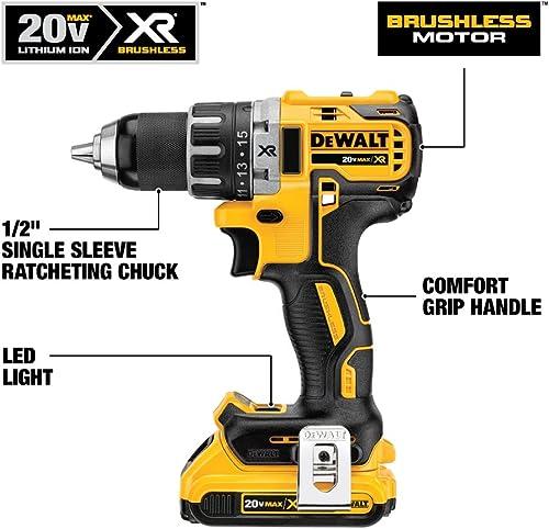 DEWALT 20V MAX Cordless Drill Driver Kit, Brushless, 1 2-Inch DCD791D2