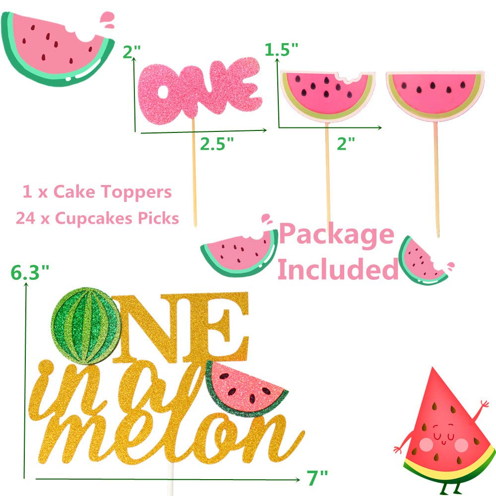 JeVenis Set of 25 Watermelon Cupcake Topper Watermelon One Cupcake Topper Baby Girl First Birthday Cupcake Topper by JeVenis (Image #7)