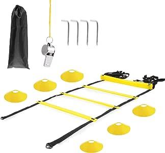 Omasi Velocidad Escalera de Entrenamiento Coordinación Agilidad, Escalera de velocidad escalera de coordinación,6M 12 Escalones Peldaños 4 clavijas Escalera de velocidad para fútbol, fitness, deportes: Amazon.es: Deportes y aire libre