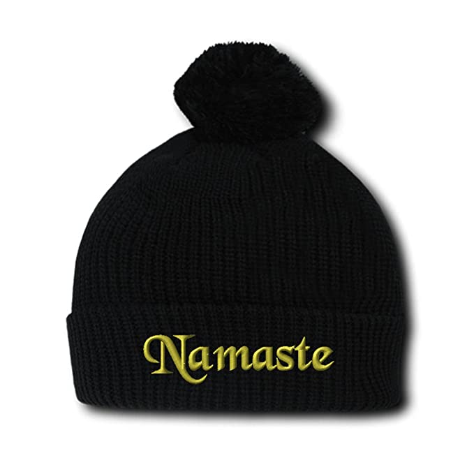06595697a73b7 Speedy Pros Namaste Embroidery Embroidered Pom Pom Beanie Skully Hat Cap  Black