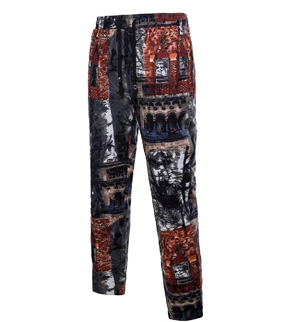 Fseason-Men Printed Casual Loose Vogue Tailored Fit Hipster Casual Pants