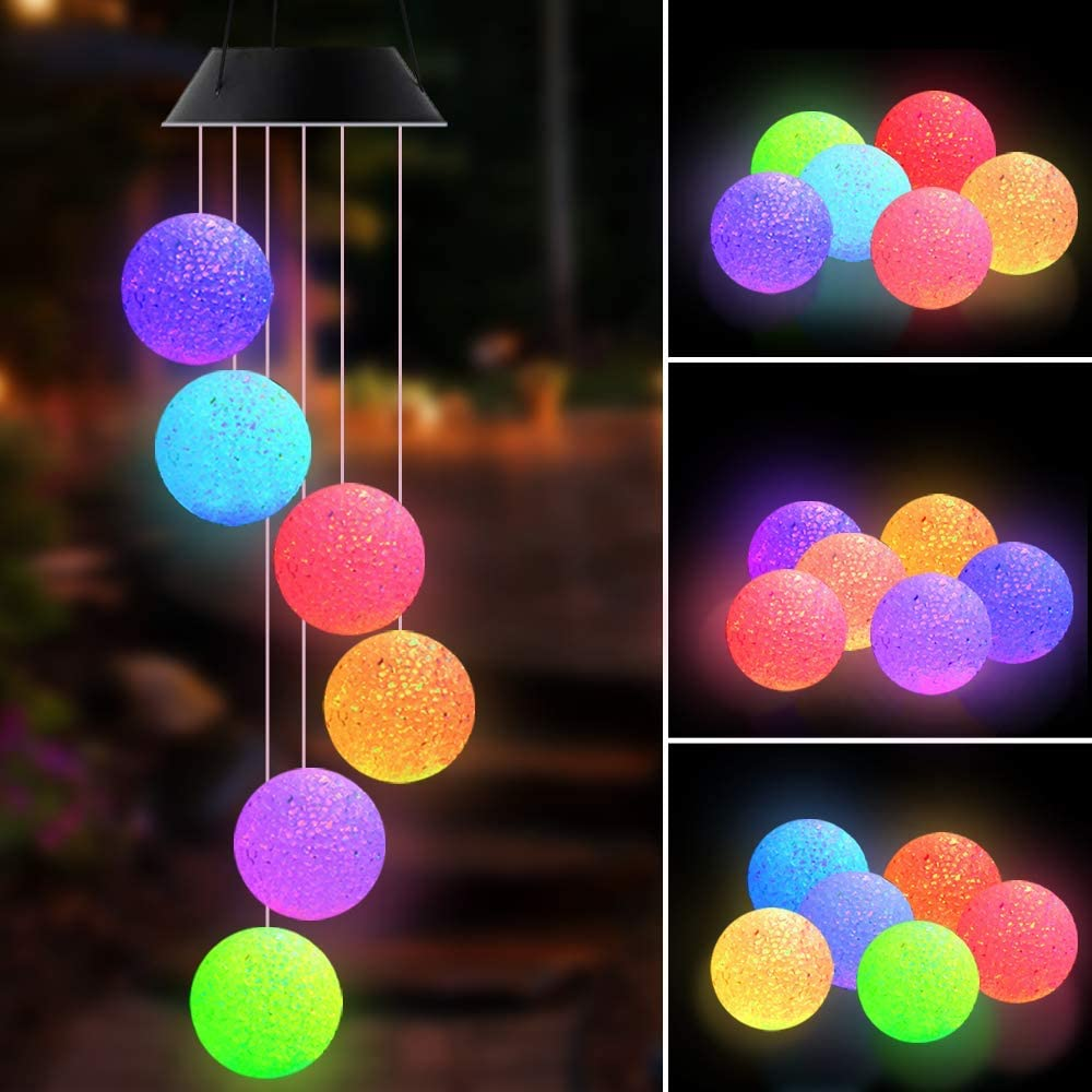 SIEBIRD Crystal Ball Solar Wind Chimes Outdoor, Waterproof LED Solar Powered Wind Chimes Lights Garden Hanging Lamp, Color Changing Mobile Romantic Wind Chime Light for Home Patio Yard Garden Decor