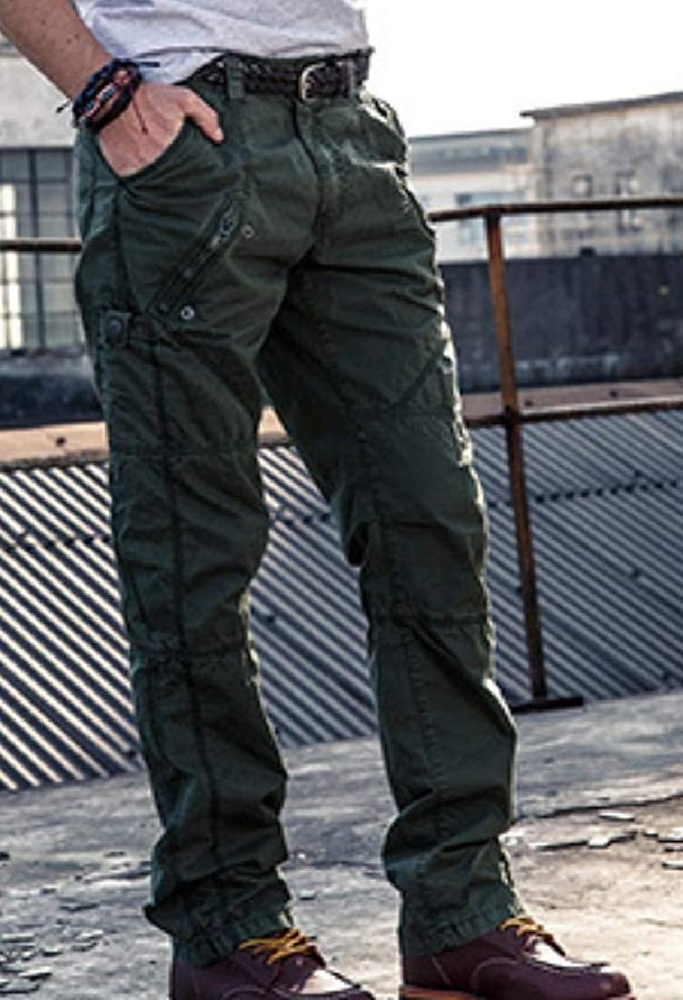 NestYu Men Regular Fit Multi Pockets Plus-Size Cotton Twill Jogger Pants