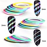 MEILINDS Nail Art Striping Tape Line Mermaid Candy Color 1mm 2mm 3mm Adhesive Sticker DIY Nail Manicure Tools Decals…