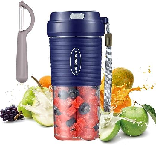 Licuadora portatil, mini licuadoras personales de 300 ml, taza exprimidora de mano para batidos y batidos, batidora recargable USB de 1400 mAh perfecta para frutas, alimentos para bebes: Amazon.es: Hogar