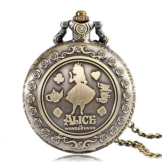Alicia en el país de Las Maravillas Vintage Reloj de Bolsillo Bronce Cuarzo Fobo Reloj Collar Colgante Cadena Reloj: Amazon.es: Relojes