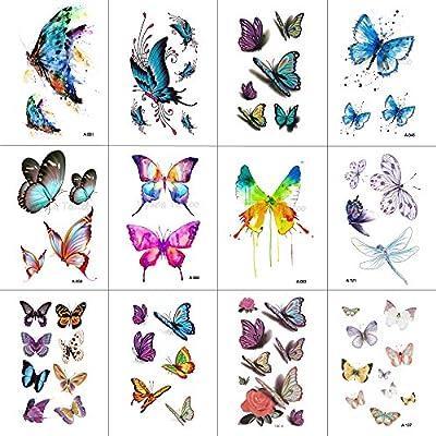 0a1127e93 WYUEN 12 PCS/lot Butterfly Temporary Tattoo Sticker for Women Men ...