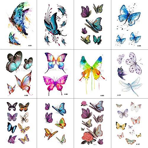 WYUEN 12 PCS/lot Butterfly Temporary Tattoo Sticker for Women Men Body Art Adults Waterproof Hand Fake Tatoo 9.8X6cm W12-03