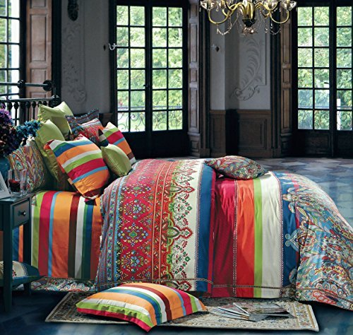 Bohemian Duvet Cover Striped Ethnic Boho Reversible Paisley Pattern Cotton King Size Bedding 3 Piece Set Colorful Modern Hippie Style (Paisley Bed Linen)