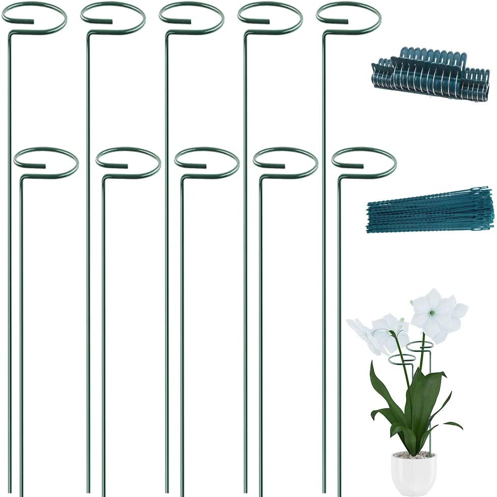 10 Pack Plant Support Stakes 24inch Garden Plant Stakes for Amaryllis Orchid Lily Rose Tomatoes with 20pack Plant Support Clips & 20pack Plant Twist Ties