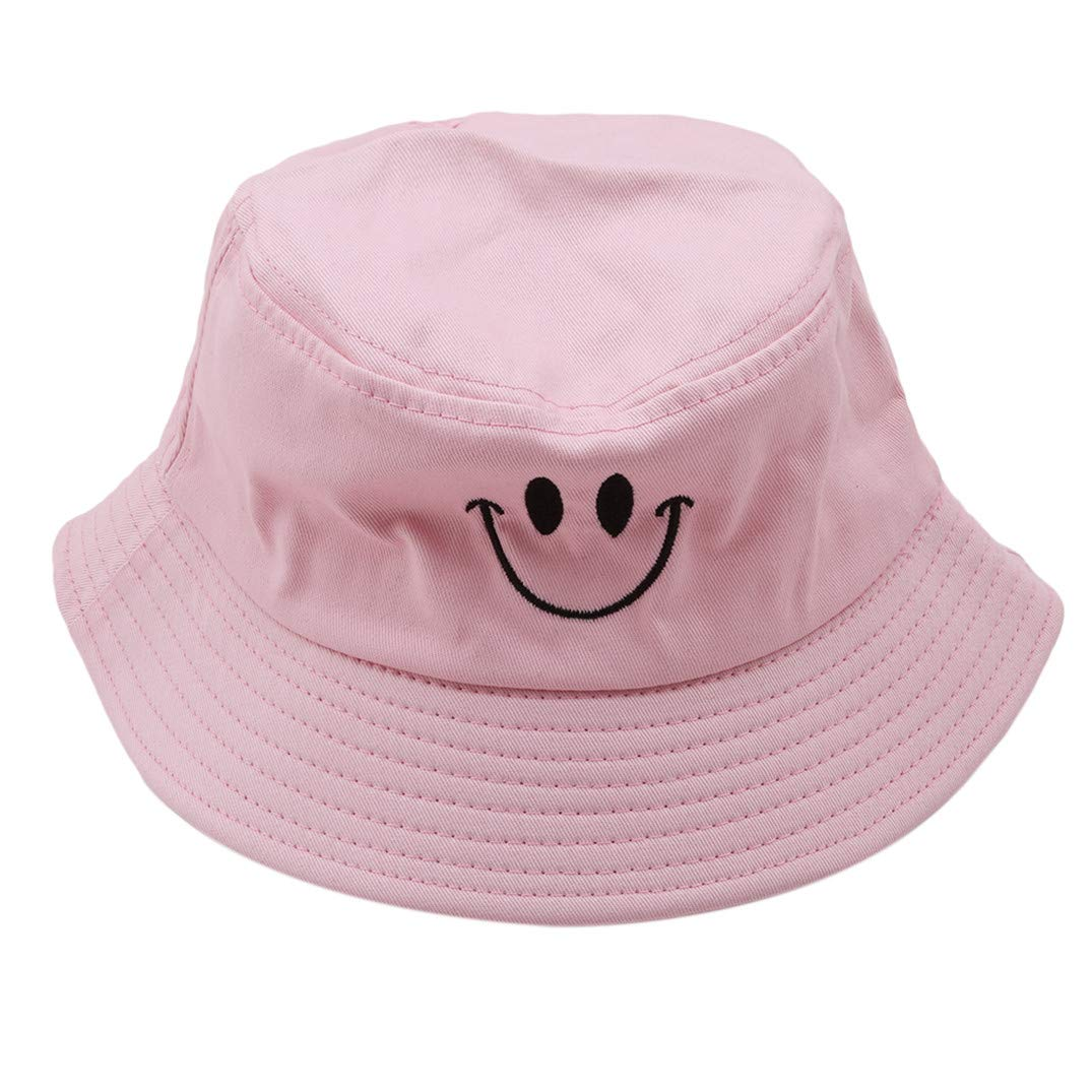 JOOFFF Embroidery Hat Beret Hat Smiley Embroidery Fashion Hat Japanese Harajuku Style Hat Bucket Hats Spring And Summer Sun Hat,Pink