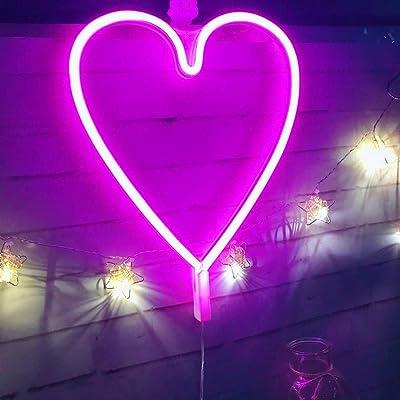 ENUOLI Pink Neon Night Light Heart Shaped USB /& Battery Powered Heart Marquee