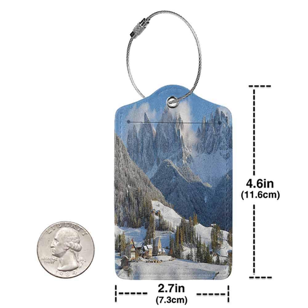 Waterproof luggage tag Apartment Decor Collection Mountain Village Scenery in Winter with Snow Peaks Northern Zone Spot Alps Photo Soft to the touch White Blue Green W2.7 x L4.6