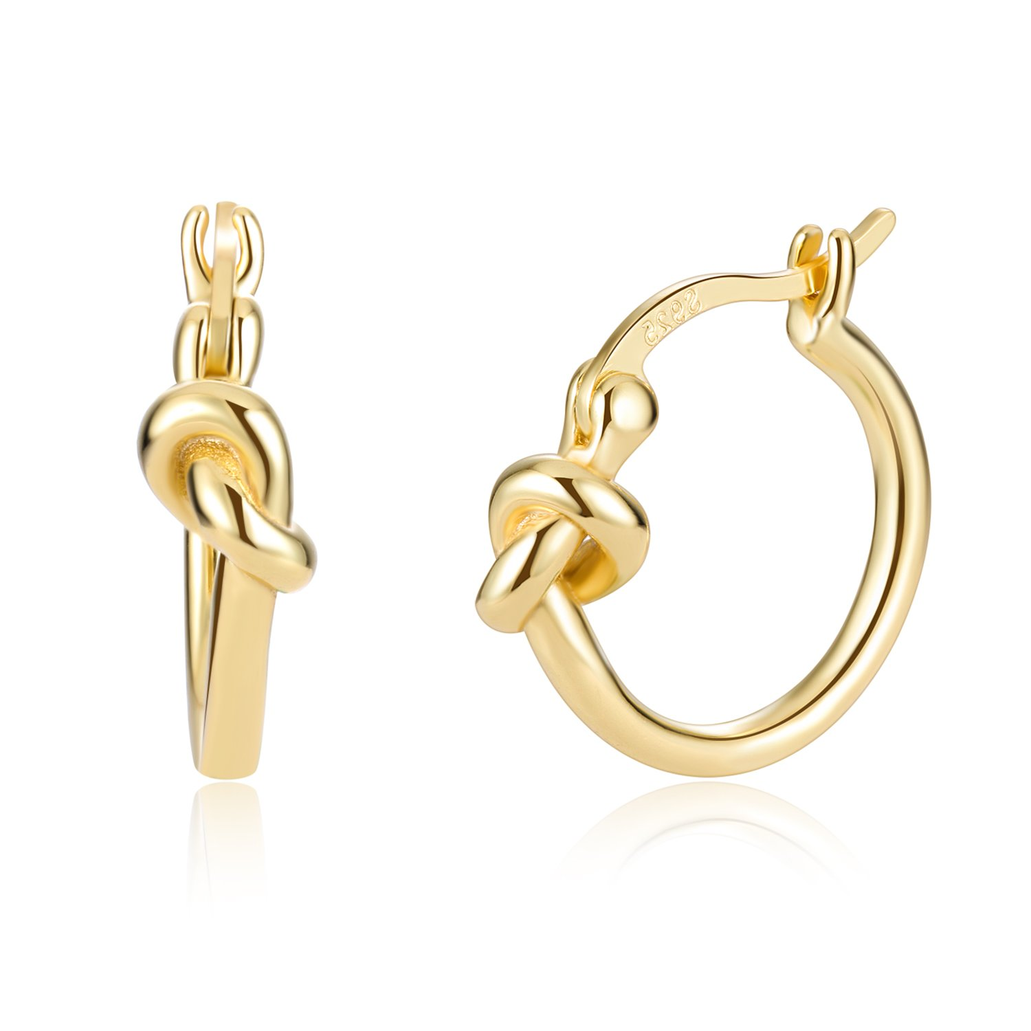 Love Knot Celtic 18K Gold Plated 925 Sterling Silver Minimalist Clip On Earrings