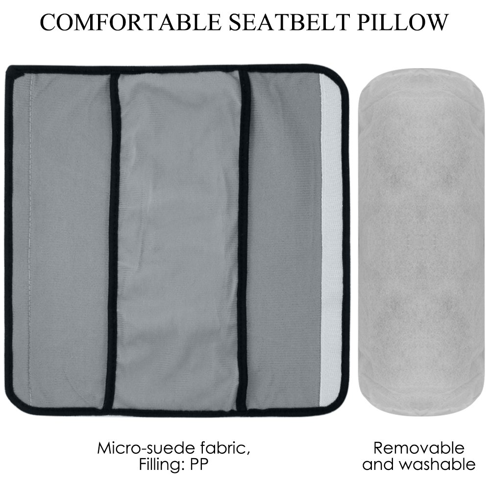 Gray maxin Adjust Vehicle Shoulder Pads Seatbelt Pillow with Kids Seatbelt Adjuster Child Seat Belt Safter Covers for Children Baby Adult.