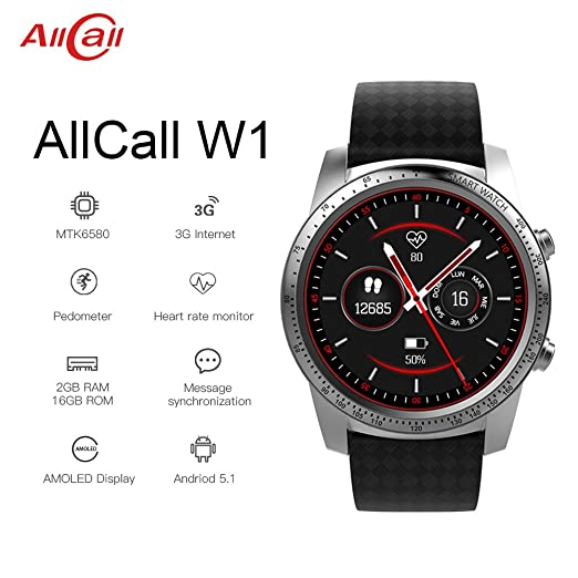 Amazon.com: AllCall W1 Bluetooth Smart Watch Android 5.1 2GB RAM 16GB ROM 3G/2G Watch-Phone MTK6580m Quadcore Heart Rate Sport GPS Call Notification ...