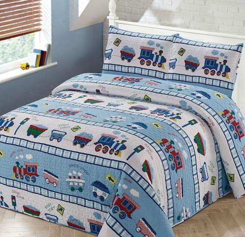 Luxury Home Collection 3 Piece Full/Queen Size Quilt Coverlet Bedspread Bedding Set for Kids Teens Boys Girls Trains Light Blue White Green Red Yellow by Luxury Home
