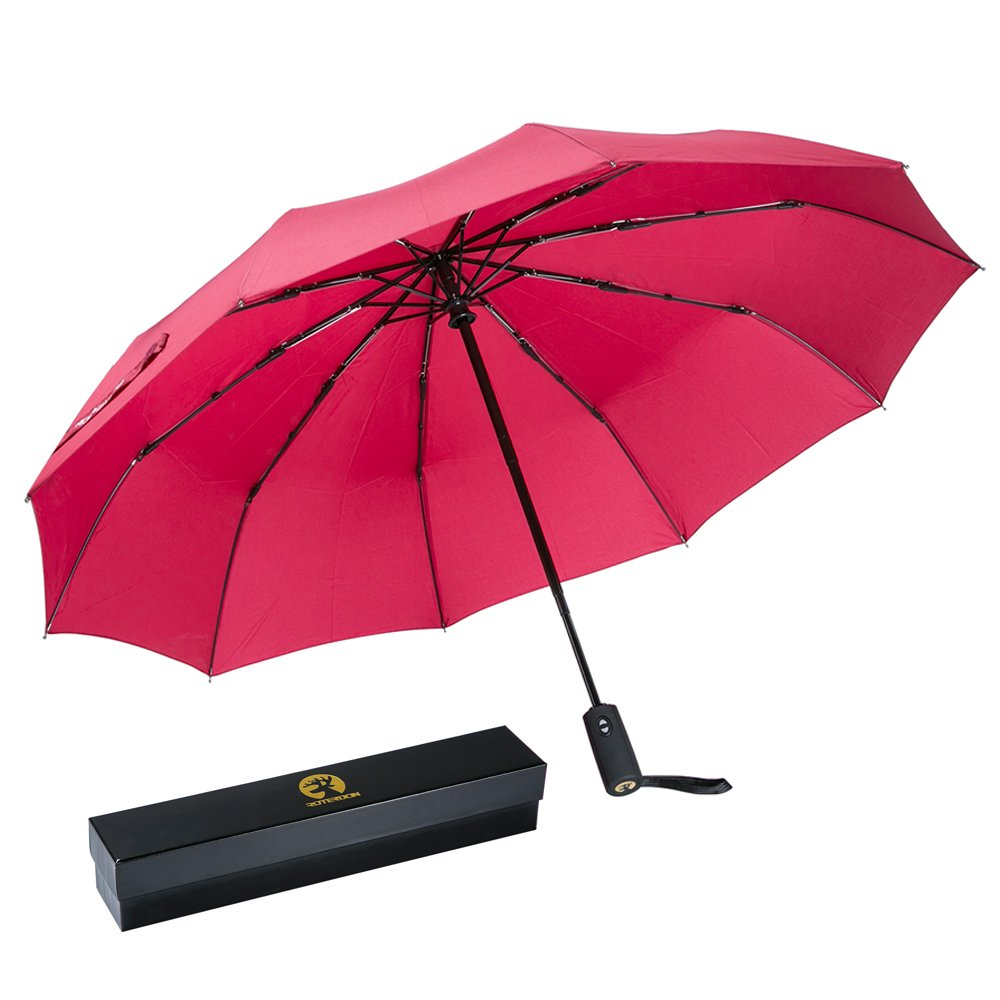 ROTERDON Windproof Travel Umbrella Folding - Small Compact Umbrella with Teflon Coating Auto Open/Close Reinforced Canopy Waterproof Pack for Luggage,Red by ROTERDON (Image #1)